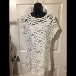INC flowed lace print top